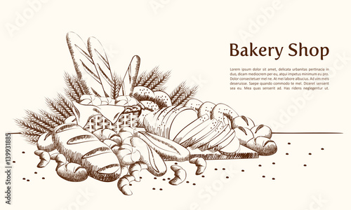 Bakery products basket with bread and other pastries draw