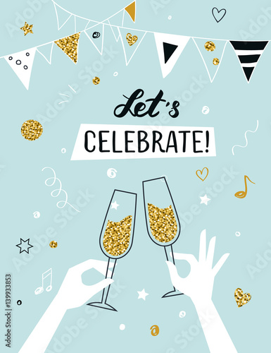 Cuadros en Lienzo Party invitation background raised hands holding champagne glasses, vector illus