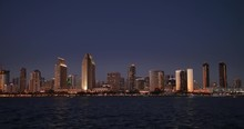 SAN DIEGO, CA - Circa February, 2017 - A Picturesque Establishing Shot Of The San Diego Skyline At Night.