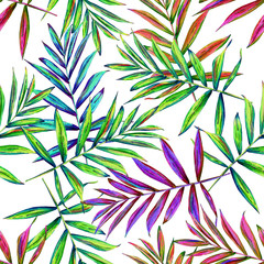 Panel SzklanySeamless floral pattern with beautiful watercolor palm leaves. Colorful jungle foliage on white background. Textile design.