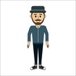 people, man with casual cloth and hat avatar icon