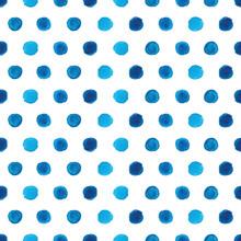 Watercolor Blue Polka Dot Seam...