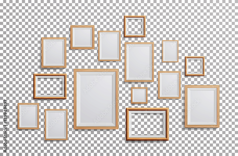 Fototapeta Realistic Photo Frame Vector. Set Square, A3, A4 Sizes Light Wood Blank Picture Frame, Hanging On Transparent Background From The Front. Design Template For Mock Up.