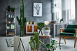 canvas print picture - Room with cacti decorations