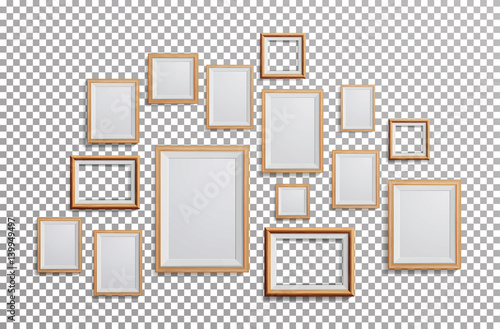 Fototapeta Realistic Photo Frame Vector. Set Square, A3, A4 Sizes Light Wood Blank Picture Frame, Hanging On Transparent Background From The Front. Design Template For Mock Up. obraz