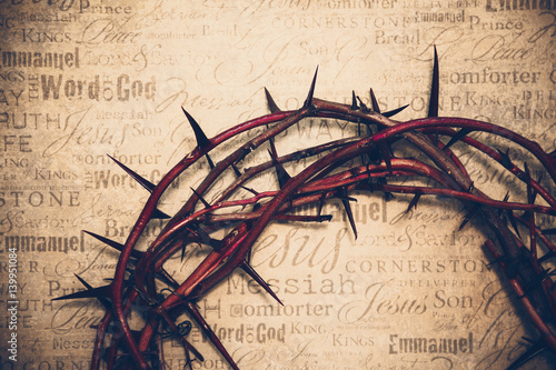 Crown of thorns with Jesus names and attributes in the background Wallpaper Mural