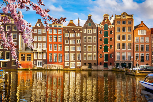 Traditional old buildings in Amsterdam at spring, the Netherlands Wallpaper Mural