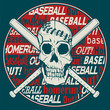 Skull and baseball bats on graphic background