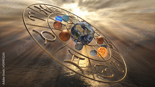 Mystic golden zodiac horoscope symbol with twelve planets Wallpaper Mural
