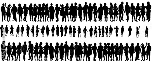Fototapeta  isolated silhouette of a crowd of people, collection obraz