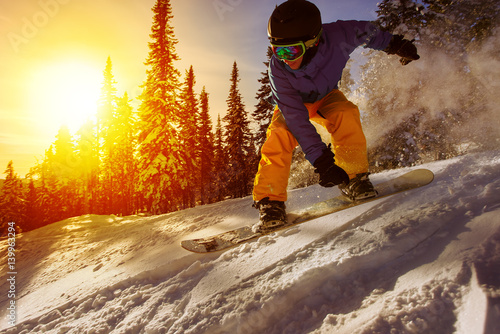 Photo  Snowboarder jumping
