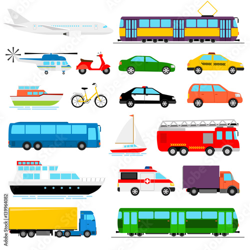 Fotografija Urban transport colored vector illustration. City transportation