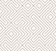 Geometric Seamless Pattern Background. Simple Graphic Print. Vector Repeating Line Texture. Modern Swatch. Minimalistic Shapes. Stylish Monochrome Trellis. Square Grid. Trendy Hipster Sacred Geometry