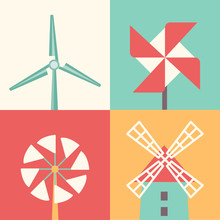 Windmill Linear Flat Icons. Wind Energy Cartoon Vector Illustration