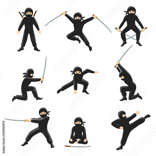 Carta da parati Cute cartoon ninja vector illustration