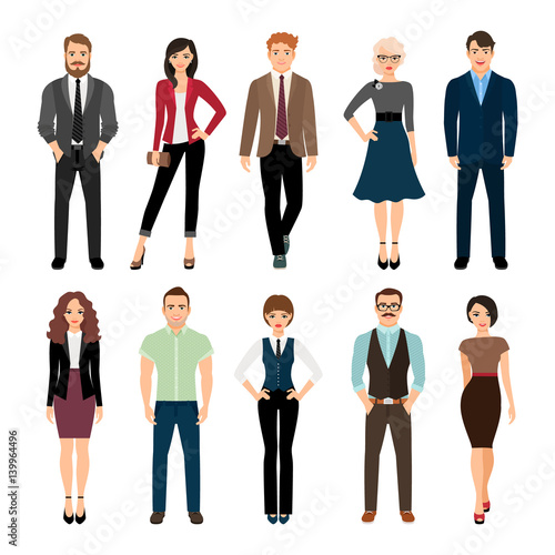 Fotografía  Casual office people icons set