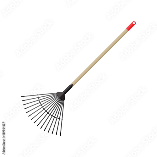 Obraz na plátně Metal rake with wooden handle. Garden accessories