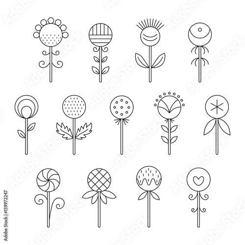 In de dag Abstractie Art Linear icons of flowers.
