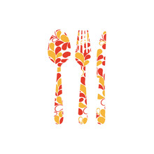 Colorful Cutlery Printed Floral Design Vector Illustration