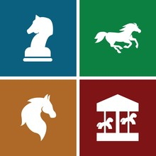 Set Of 4 Horse Filled Icons