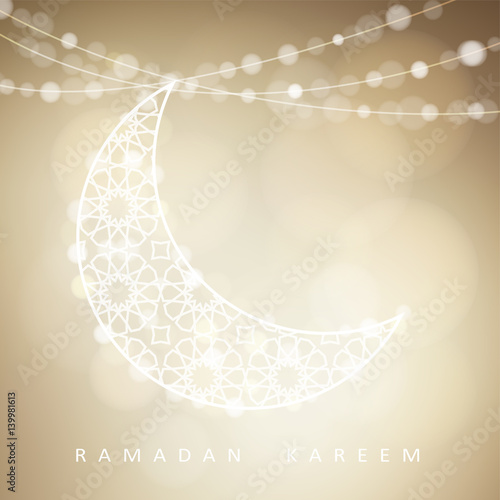 Ornamental arabic half moon with bokeh lights vector illustration ornamental arabic half moon with bokeh lights vector illustration background card invitation for stopboris Images