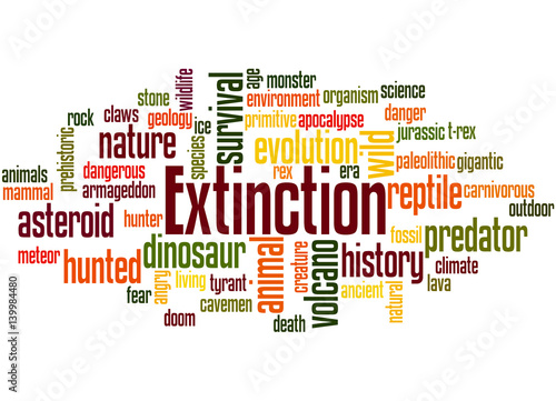Fotografie, Obraz  Extinction, word cloud concept 4