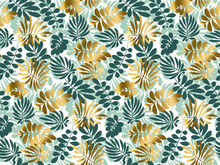 Abstract Tropical Leaves Seamless Pattern In Emerald Green Color. Decorative Summer Nature Surface Design. Vector Illustration For Print, Card, Poster, Decor, Header, .