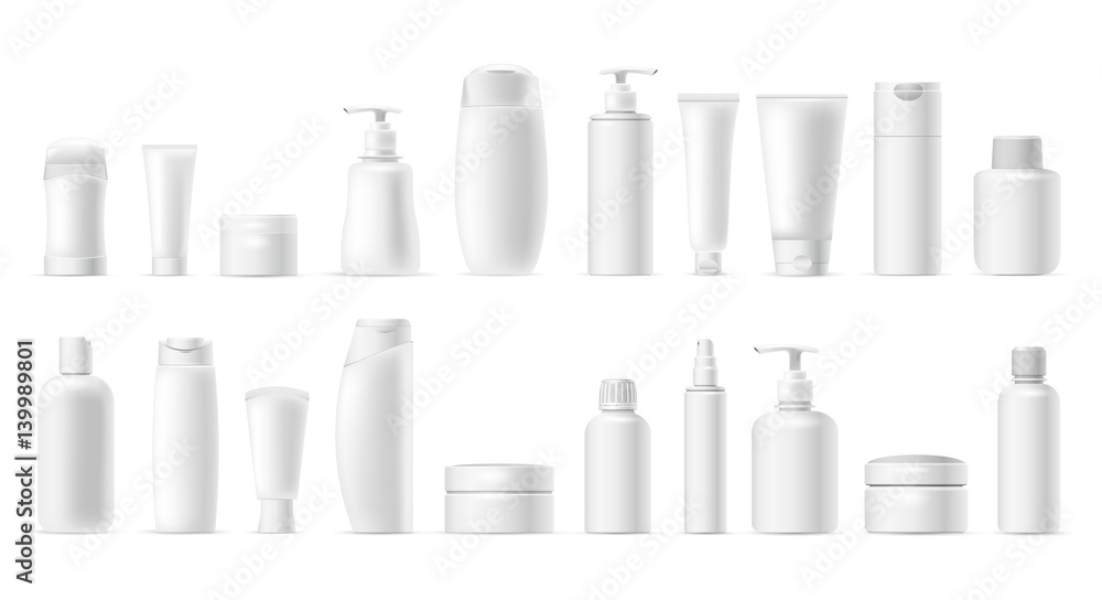 Fototapeta Set vector blank templates of empty and clean white plastic containers: bottles with spray, dispenser, cream jar, tube. Realistic mock-up of cosmetic package. Isolated on white background.