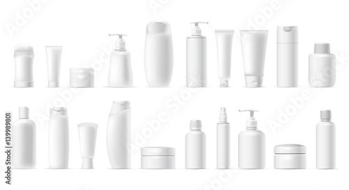 Fotografie, Obraz  Set vector blank templates of empty and clean white plastic containers: bottles with spray, dispenser, cream jar, tube
