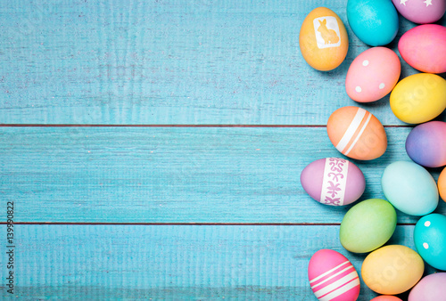 Photo  Colorful Easter Eggs Border