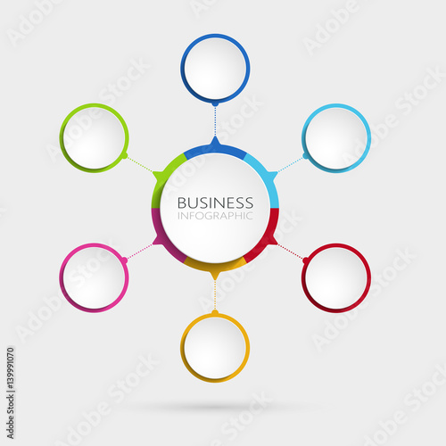 Modern Abstract 3D Infographic Template With 6 Steps Business Circle Options For Brochure