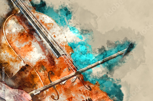 Fényképezés Detail of a woman playing cello art painting artprint