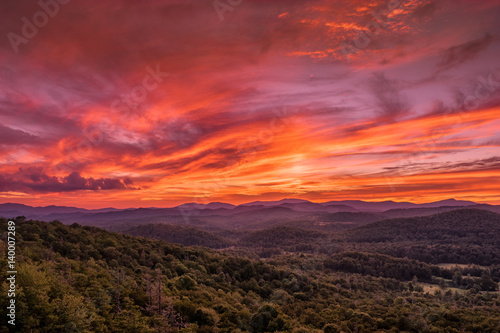 Spoed Foto op Canvas Bordeaux Sunset from Flat Rock Overlook off the Blue Ridge Parkway