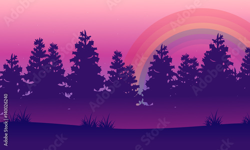 Spoed Foto op Canvas Violet Silhouette of spruce beauty landscape with rainbow