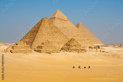 Egypt Row of Camels Walking at Great Egyptian Pyramids in Giza, Egypt