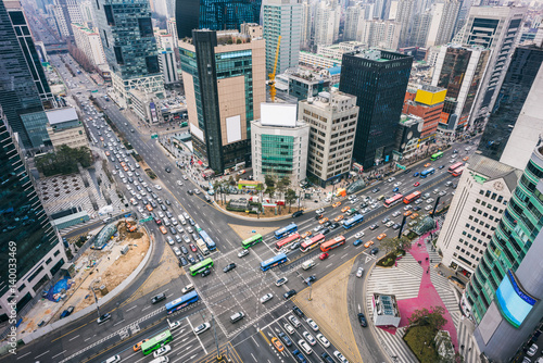 Photo  On the roof of the building at Gangnam Station intersection