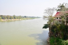 Scenic View Of The Mekong River And Wat Hin Mak Peng In Nong Khai Province, Thailand
