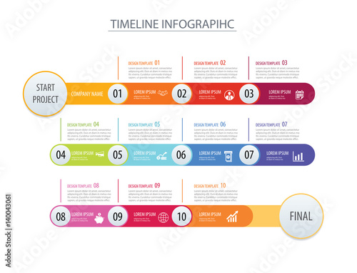 Infographic Timeline Template Business Concept Arrows Vector Can Be Used For Workflow Layout Diagram Number Step Up Options Web Design