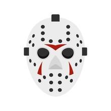 Hockey Mask Icon, Flat Style