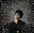 Possibilities. Genius Little Boy Thinking Wearing Glasses Chalkboard