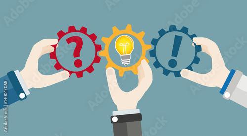 Photo Hands Gears Idea Bulb Question Answer Teamwork Concept