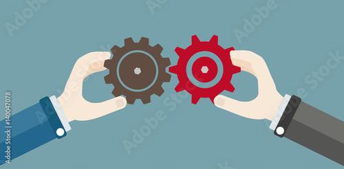Photo Hands Gears Businessman Teamwork Concept