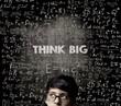 Think Big. Half Face Genius Boy Thinking Wearing Glasses Chalkboard