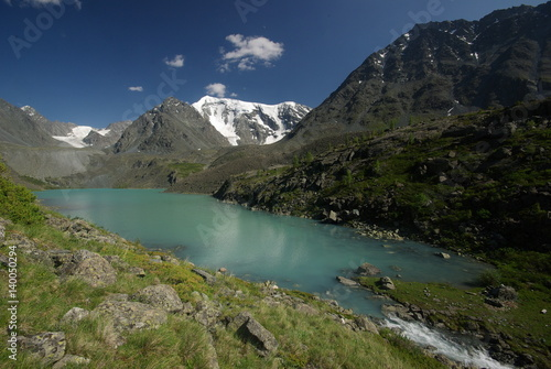 Aluminium Prints The mountain river in the mountains. Current through the gorge the river. Stones and rocky land near the river. Beautiful mountain landscape