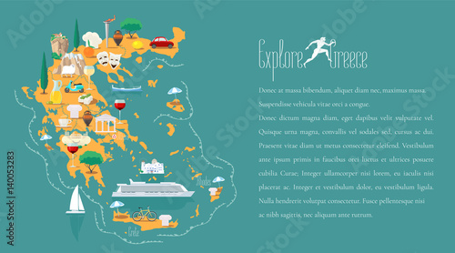 Cuadros en Lienzo  Map of Greece template vector illustration