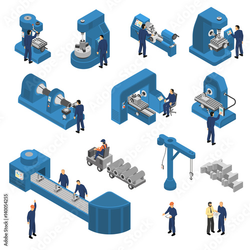 Fotografie, Obraz  Machine Tools With Workers Isometric Set