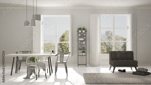 Scandinavian Living Room With Big Windows Garden Panorama In Beauteous Large Living Room Window Minimalist