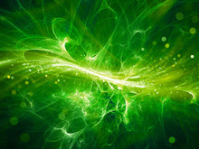 Green Glowing High Energy Plasma Field In Space With Particles