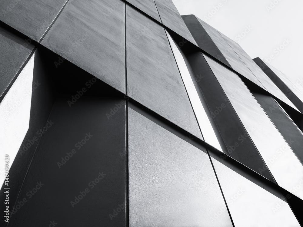 Fototapeta Modern Architecture detail Facade design Black and White