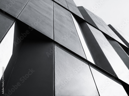 Fototapeta Modern Architecture detail Facade design Black and White obraz